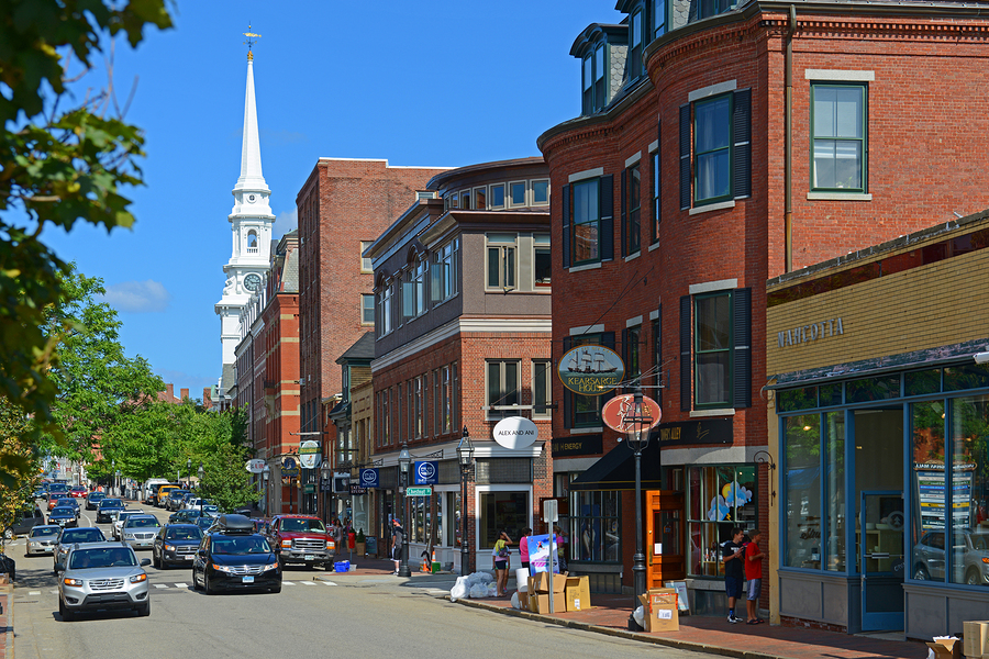 Historic buildings on Congress Street near Market Square in downtown Portsmouth, New Hampshire